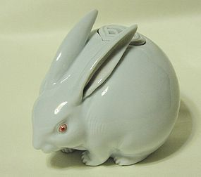 Lovely Japanese Porcelain Rabbit Koro, Makuzu Kozan 3rd