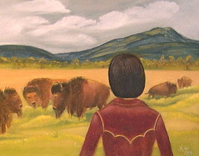 Signed Oil O/C Painting Landscape In Bison Enclosure