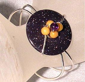 Signed Studio Sterling Bracelet Cuff Purple Goldstone