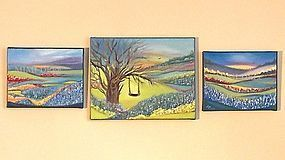 Signed Oil O/C Landscape Painting, 3, Bluebonnets