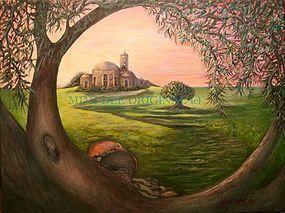 Signed American Original Acrylic Landscape Olive Tree Painting Dalia