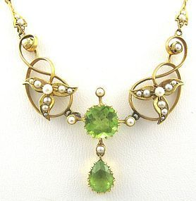 Titanic-Era Peridot Necklace with Seed Pearls