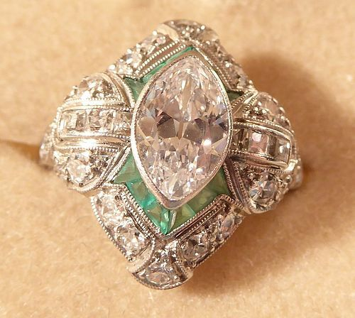 Marquise Diamond & Emerald  Ring