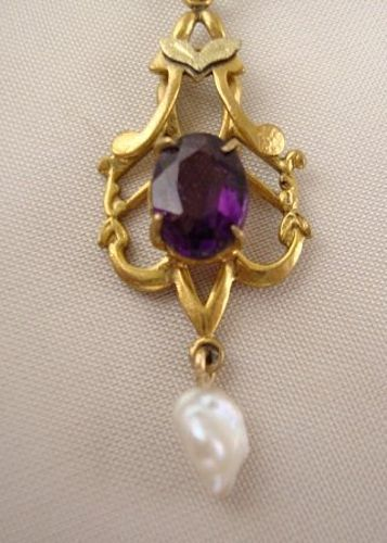Amethyst and Pearl Art Nouveau Lavalier