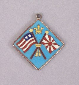 Cloisonne Pendant with Meiji and US Flags under Crown