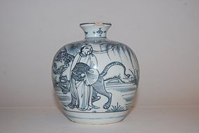EX. LONGSDORF MING DYNASTY BLUE AND WHITE FIGURAL JAR