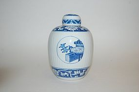 FINE KANGXI PERIOD BLUE AND WHITE JAR AND COVER