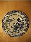 Large 18th century blue and white export barbed plate