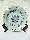 Fine large Qianlong mark and period celadon plate