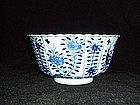 FLUTED PERFECT KANGXI PERIOD C17 BLUE AND WHITE BOWL