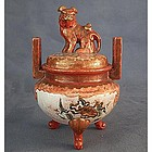 Antique Japanese Kutani Porcelain Incense Burner Koro