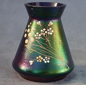 Antique Art Nouveau iridescent glass vase attributed t