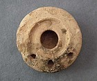 Ancient Imperial Roman Terracotta Oil Lamp with Three F