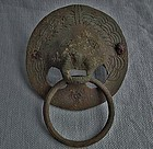 Ancient Roman Large Bronze Lion Head Handle  200 AD