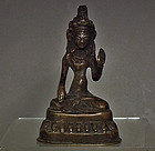 Antique 18th 19th c Sino Tibetan bronze figure of Avalokiteshvara