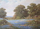 Robert Wood Texas Blue bonnets impressionist oil