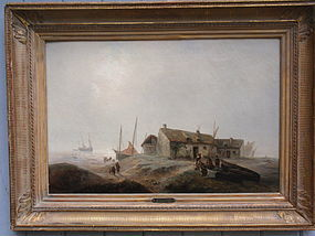 French Oil Jean Antoine Gudin village by the sea 1850