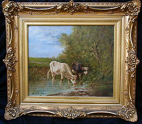 Cows at a stream  Eug�ne Fromentin  (1820 - 1876) oil
