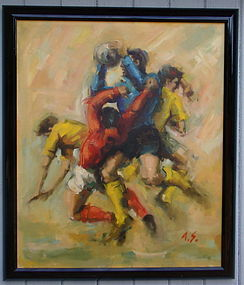 The Soccer Players Alfred Simonpietri Original oil