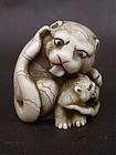 Japanese Ivory Netsuke Tiger & Cub master carver