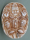 Japanese antique Ivory Netsuke Oni Man hiding basket
