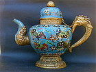 Antique Chinese Tibetan Cloisonne Tea Pot