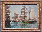 Sailing Ships in Harbor Italy Maritime art Starcce