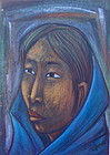 Rodolfo Nieto Mexican Modernist Portrait Woman