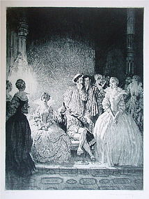 Norman Lindsay Etching King Queen Lady signed