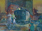 Cecil C Bell Westside Cowboy New York oil painting
