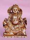 Antique Tibetan Chinese Ivory Vaishravana Buddha