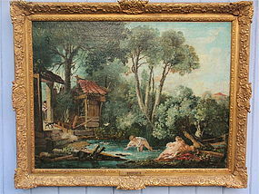 Fran�ois Boucher bathers in a stream oil painting 1700s