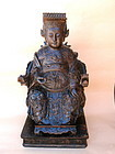 Chinese Ming emperor dragon robe carved rosewood