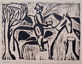 Mar�a Izquierdo woodblock print Mexican modernist