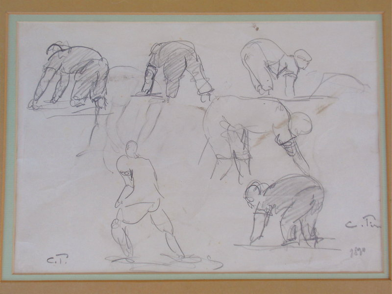 Camille Pissarro pencil drawing figural study 1890