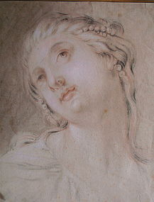 Francois Boucher Old Master drawing woman