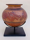Pre Columbian pottery jar or bowl Mayan.
