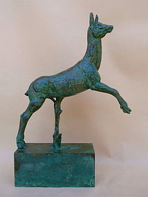 Carl Milles Bronze sculpture leaping Deer