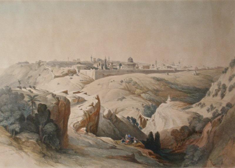 Jerusalem From Mt Olives David Roberts litho 1842