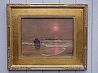 Robert Wood tonalist Laguna seascape at sunset oil