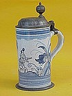 German Faience Stein Tankard c.1700s Chinoisorie