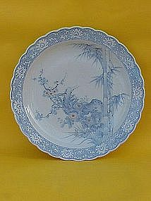 Japanese Arita Imari porcelain large bowl or charger