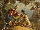 Pocahontas 19th century Native American Art oil on tin