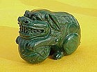 Chinese carved Malachite figure foo dog