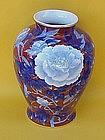 Japanese Fukagawa Imari porcelain floral vase large