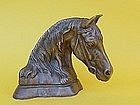 Bronze Portrait bust of a Horse artist Monogram