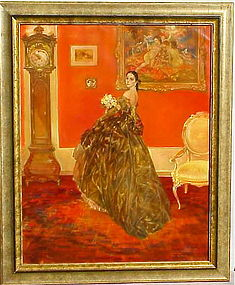 Karel Van Belle Lady in interior original oil