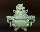 Chinese celadon green  Jade carved dragon censer c.1920