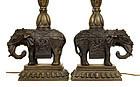 2 19C Chinese Bronze Elephant Altar Piece