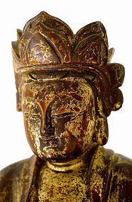 19C Chinese Gilt Lacquer Wood Trio Buddha Figurine